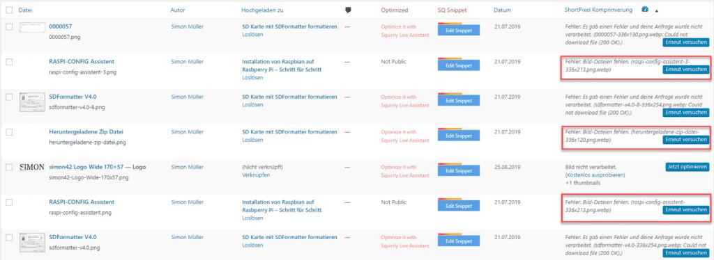Nicht mehr im Dateisystem vorhandene Medien Dateien in Wordpress 1