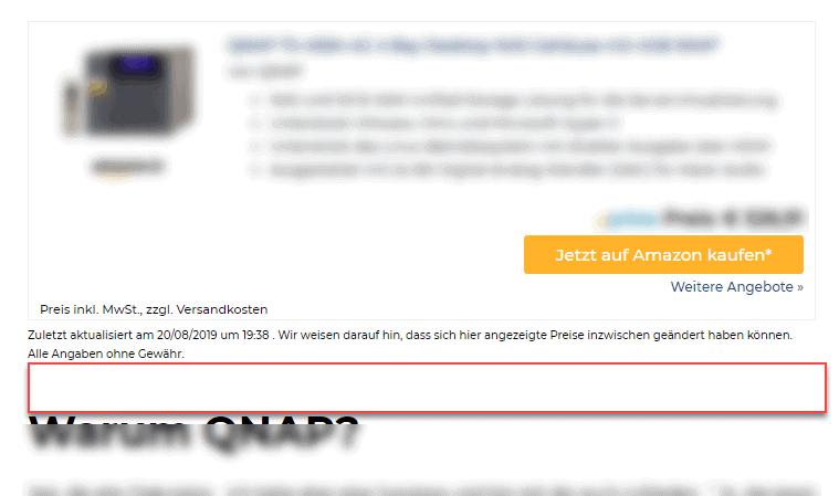 affiliate-toolkit Leerzeile nach Haftungsausschluss anzeigen