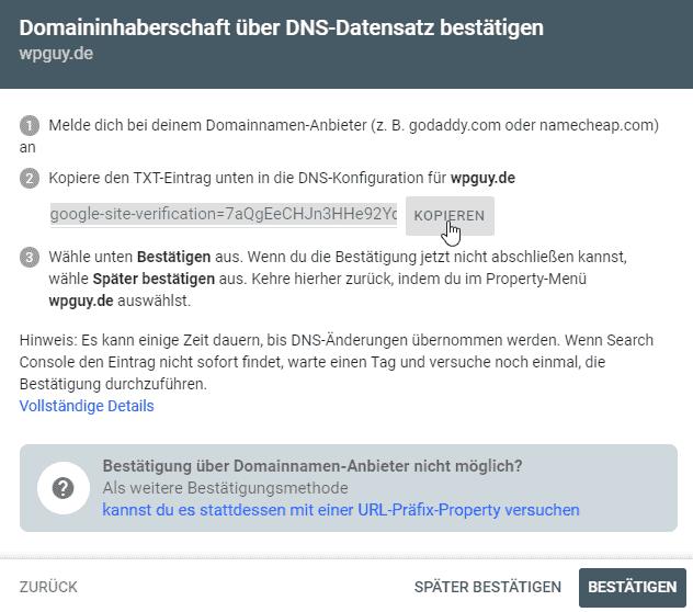 Domain von SiteGround in Google Search Console aufnehmen