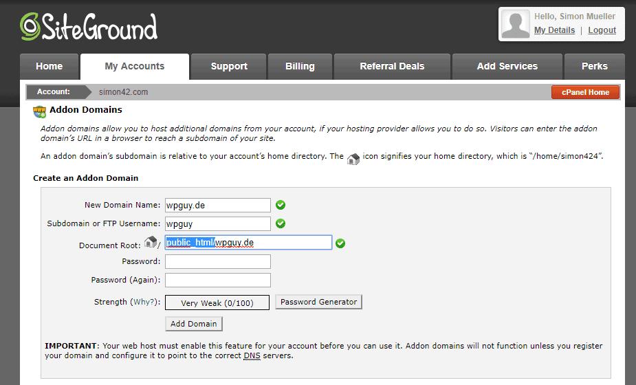 Namecheap Domain auf SiteGround umstellen