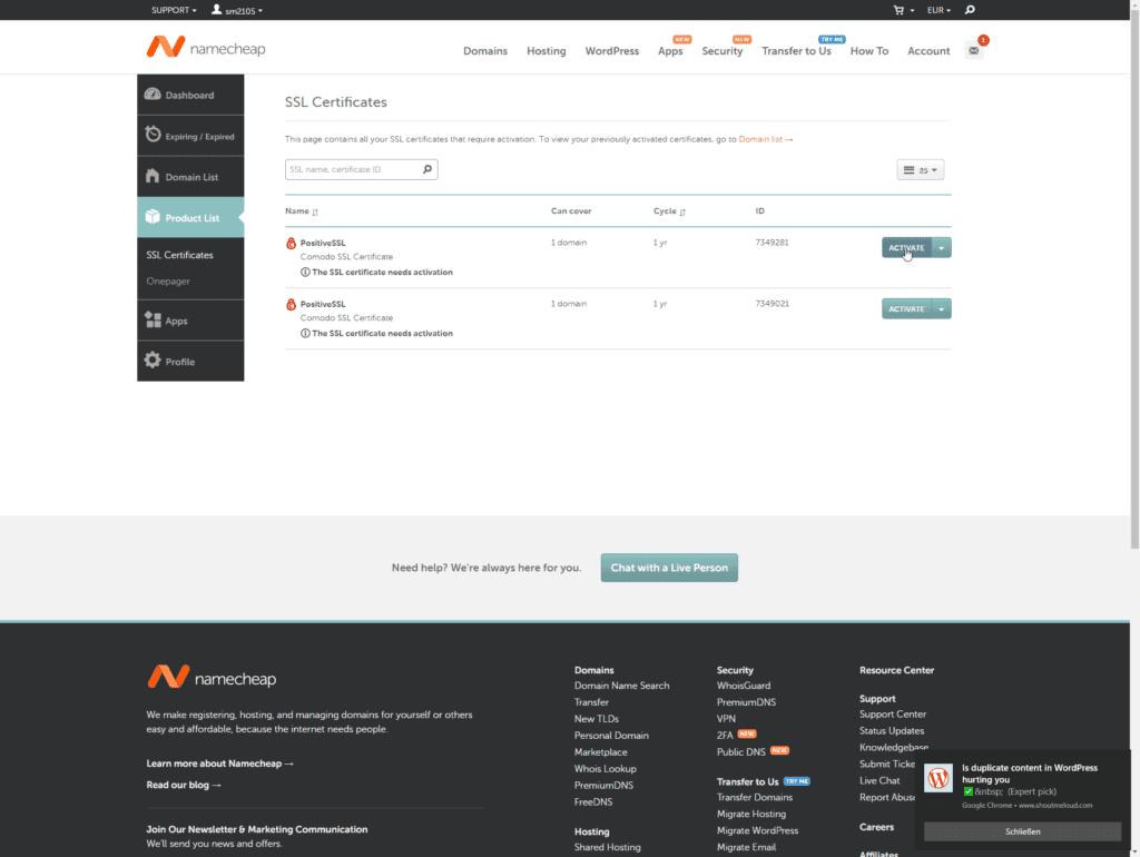SiteGround externes SSL Zertifikat einbinden