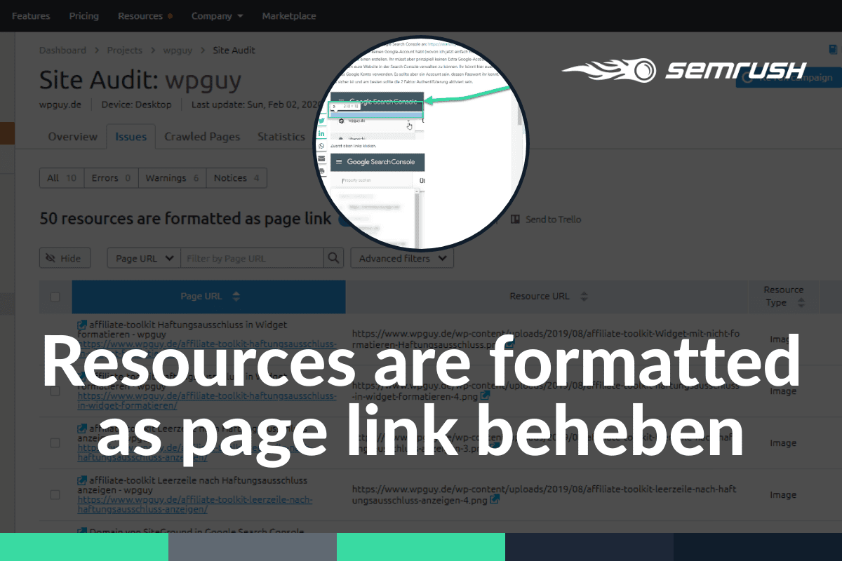 SEMrush resources are formatted as page link beheben