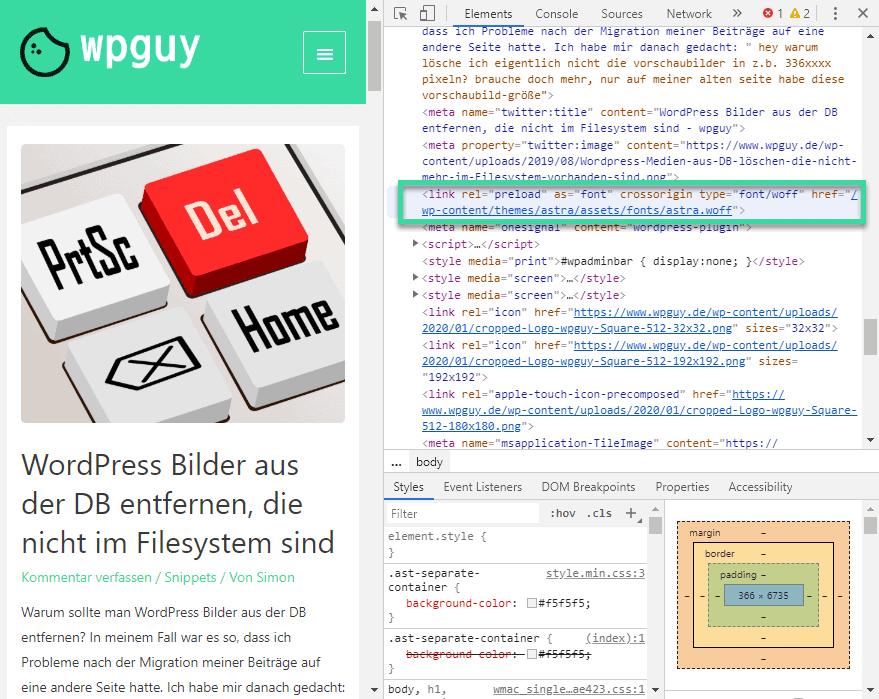 WordPress preload key requests im Quellcode überprüfen