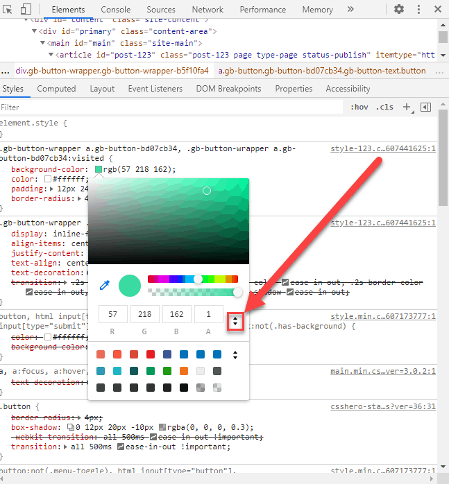 Change html color codes to rgb color