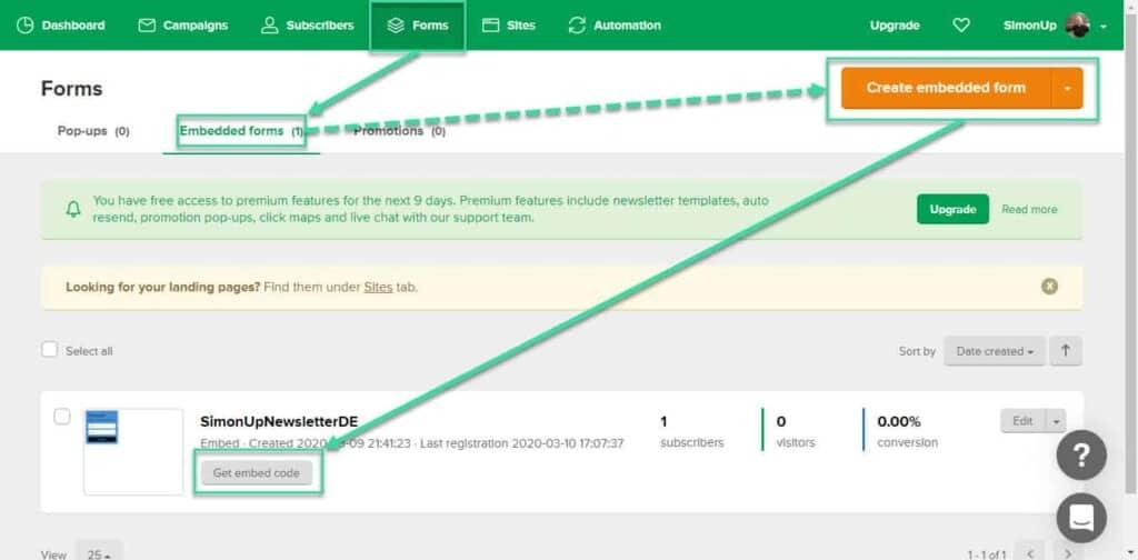 MailerLite Embed Code fuer Genesis eNews Extended