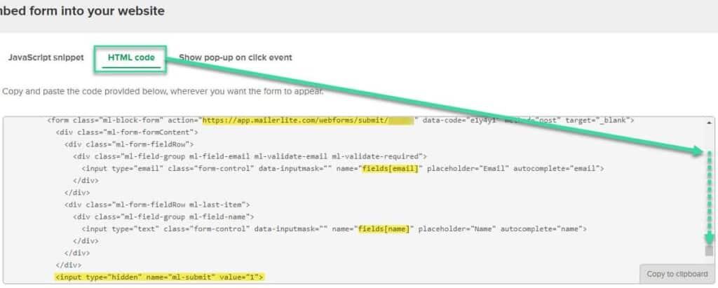MailerLite Form Embed Code Submit-Daten fuer Genesis eNews Extended raussuchen
