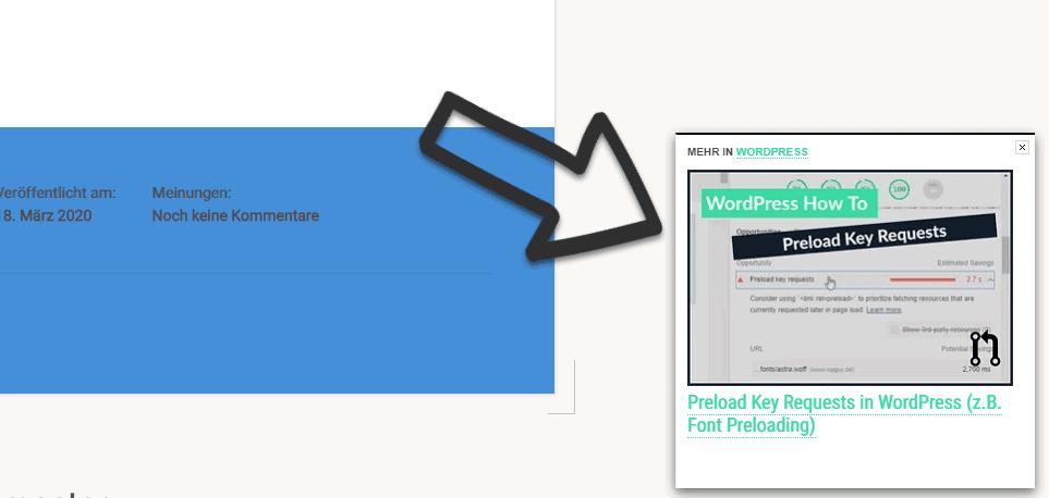 Screenshot einer Website mit UpPrev und einem Pfeil