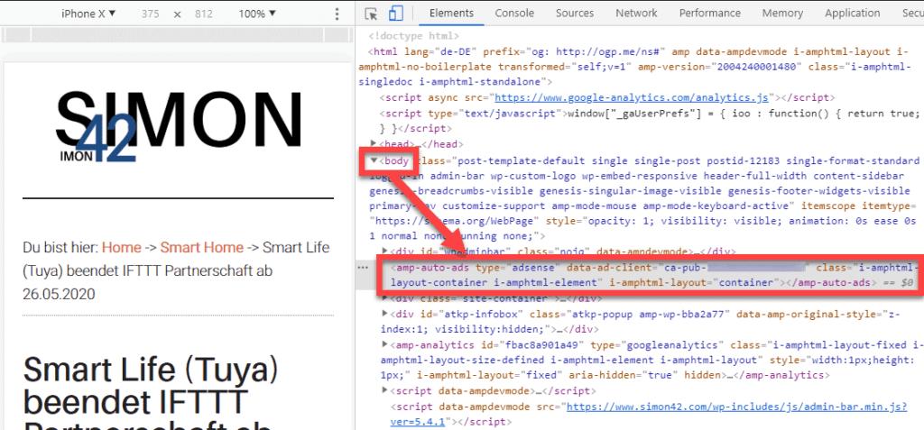 AdSense Code in Body Chrome Dev Tools