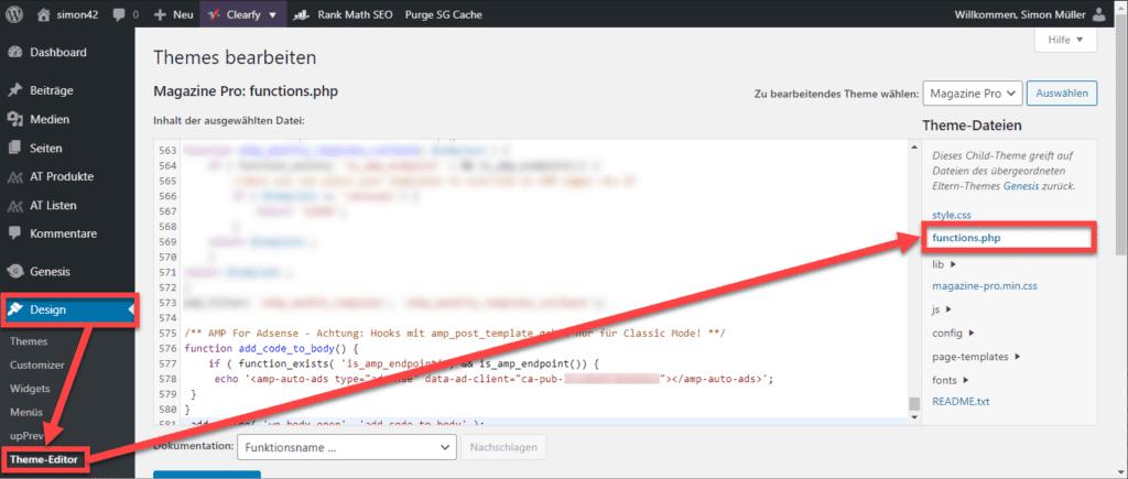 WordPress functions php bearbeiten