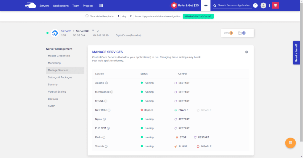 Cloudways Services for Server