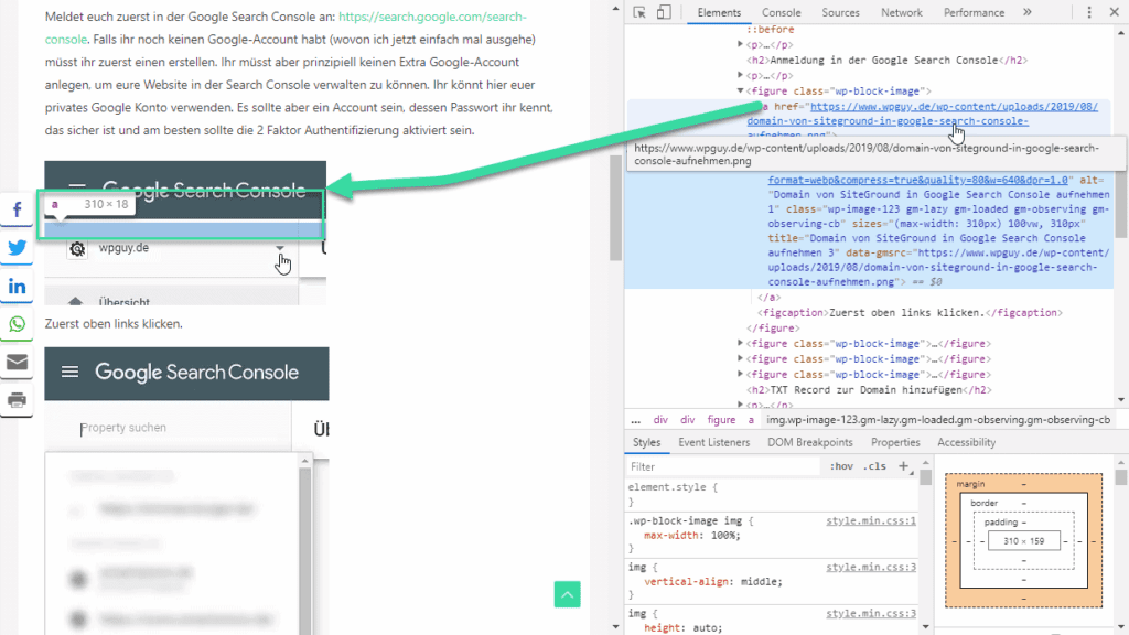 WordPress Page where a link is formatted as page link in Chrome Developer tools