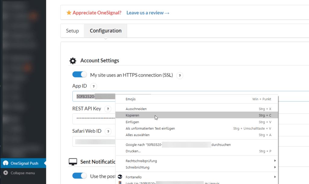 OneSignal APP ID for AMP Push Notifications