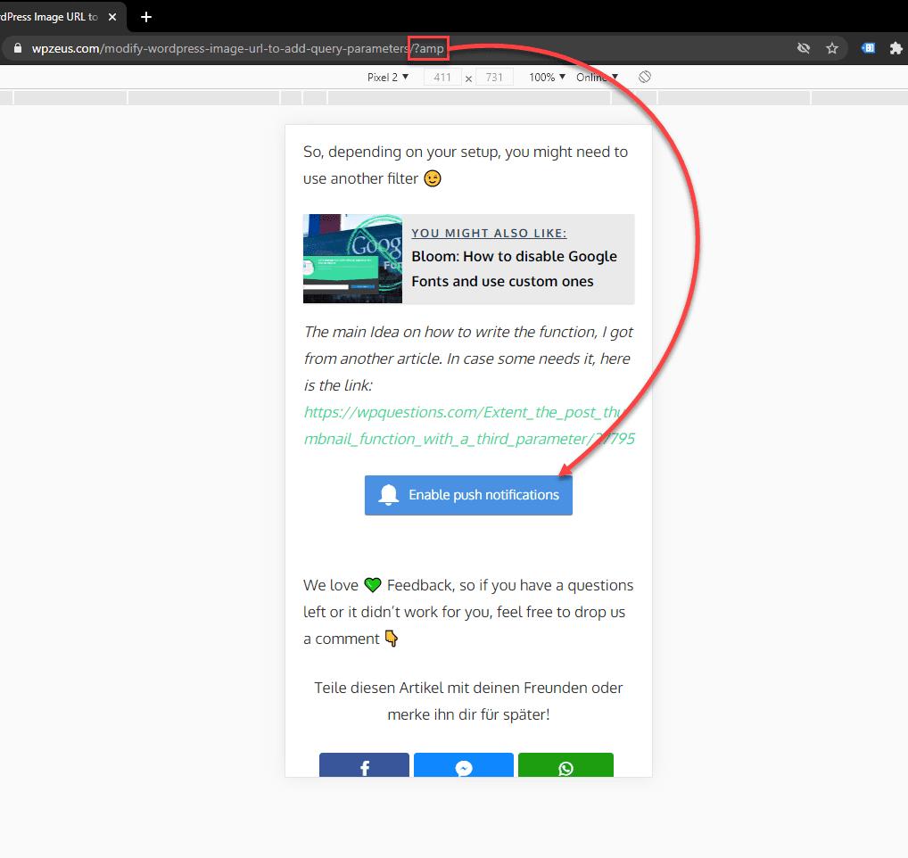 OneSignal Push Notification Button on WordPress AMP Page
